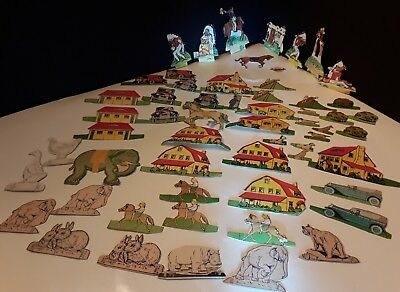 Vintage Cardboard Cutouts (3) Groups: Kellogg's Cowboys/Indians*Cars and Houses*