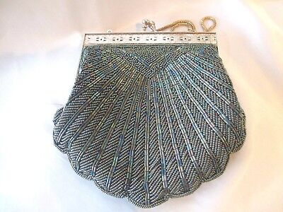 Art Deco Hand Beaded Evening Bag With Gold Colored Frame & Handle