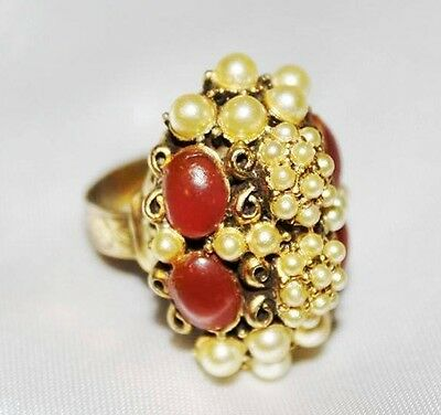 Antique Edwardian Czech Faux Pearl Carnelian Glass Etched Brass Ring RG1