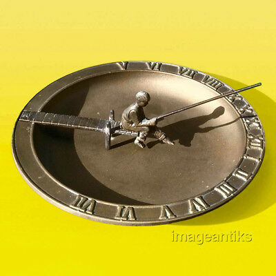 Cast Aluminum Sundial – Boy Fishing from a Dock – Corrosion-Proof