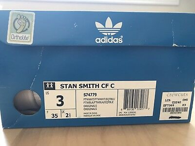 adidas Originals Kids' Stan Smith Leather White/Blue Comfort Shoe