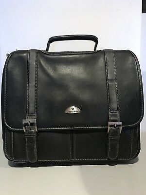 Samsonite Flapover Expandable Leather Business Briefcase Laptop Portfolio!