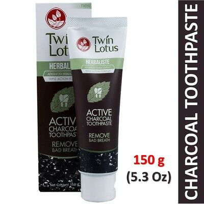 150g (5.3 Oz) Twin Lotus Active Charcoal Thai Herbal Herbaliste Toothpaste