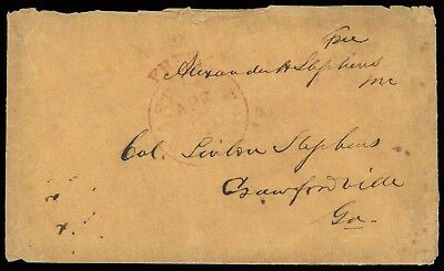 Alexander Hamilton Stephens (1812-83) 1845 c Free Frank cover from Washington DC