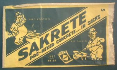 Vintage Sakrete Concrete Hardware Store Advertising Cartoon Paper Nail Bag ~Nos