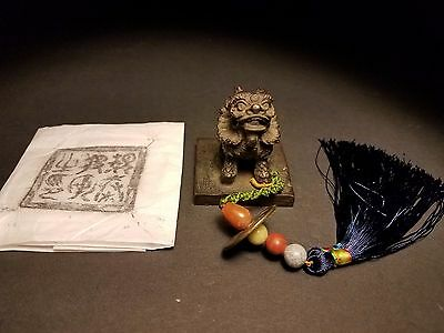 Rare Fine Antique Chinese Carved Bronze Seal Stamp with Coin Tassel Jade Jasper