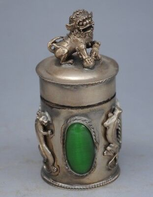 Chinese  old hand engraving  Tibet silver PiXiu jewel case