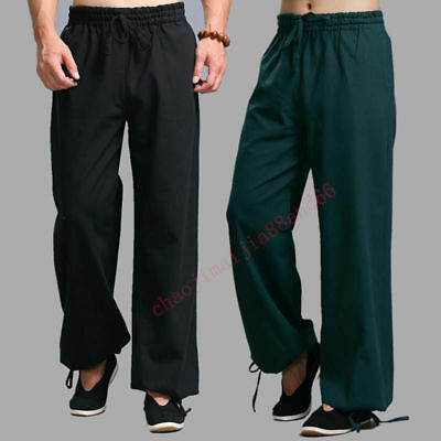 100% Cotton Martial Arts Trousers Shaolin Kung Fu Bruce Lee Casual Pants Men