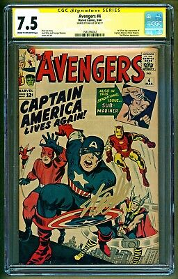 Avengers #4 Marvel 1st Silver Age app of Captain America Signed Stan Lee CGC 7.5