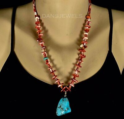 Old Pawn Vintage NAVAJO or Santo Domingo Spiny Oyster and Turquoise Necklace