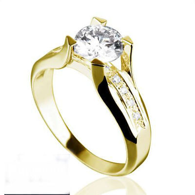 Solitaire 1.25 Ct Round W Accents Genuine Diamond 18K Yellow Gold Betrothal Ring