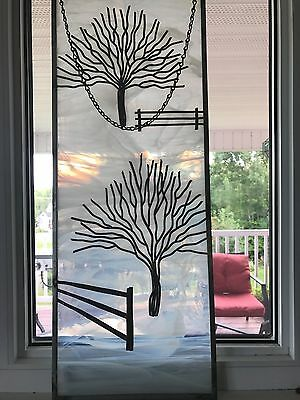 Vintage Stained Glass Art Unique Wintery Scene Signed