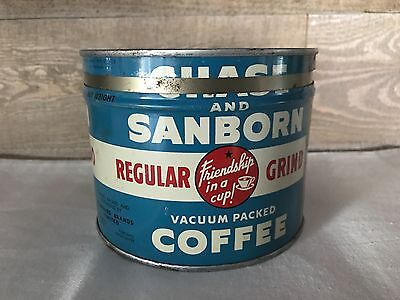 Vintage CHASE & SANBORN COFFEE Can Tin w/ Lid 1 lb GREAT
