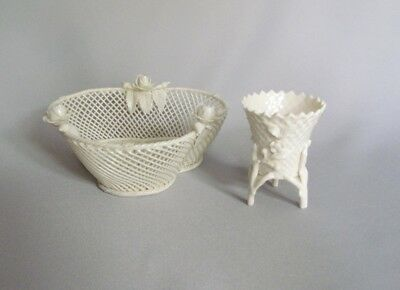 Vintage Antique Irish Belleek basketweave porcelain White Basket Bowl IRELAND