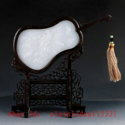 Chinese Wood Inlay Afghanistan Jade Carved The goddess of the moon Screen YPF24