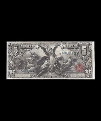 Simply Beautiful 1896 $5 Silver Certificate Education Extra Fine