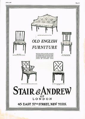 1925 BIG Vintage Stair & Andrew NY Old English Furniture Chair Photo Print Ad