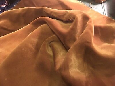 Moprimitivepast Antique Silky Vintage Fall Rust Velvet Fabric  Crazy Quilt