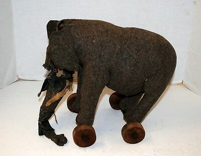 Antique Early 20th c.  Steiff Circus Elephant on Wheels w/ Button for repair