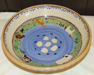 "Nicholas Mosse Ireland Assorted Farm Animals Pattern 10.25"" Shallow Serving Bowl"