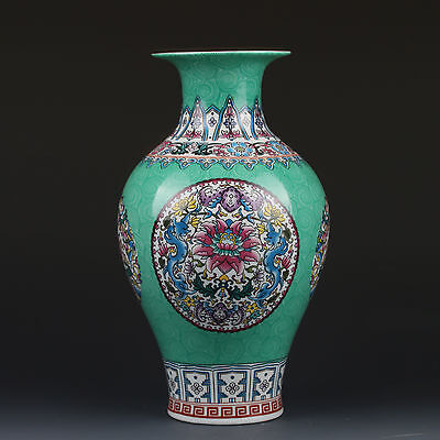Chinaese Enamel Color Porcelain Hand-Painted Vase W Qianlong Mark  gd7297