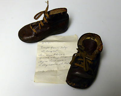 Antique Children's Shoes Hand Made c1907 with history