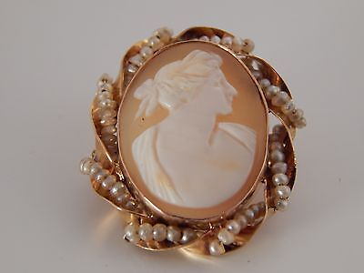 Antique Handmade Cameo Brooch Pin Pendant 10K YG  Shell & Seed Pearls Art Deco