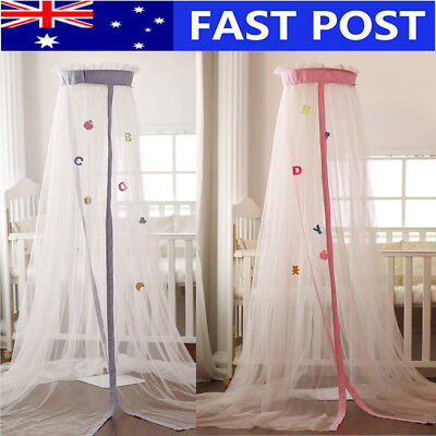 Mosquito Net Baby Bed Curtain Dome Cot Netting Canopy + Drape Stand Crib Holder