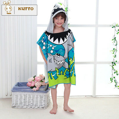 1PC Kids Infant Baby Bath Towel Cartoon Animal Hooded Towel Bathrobe Shark