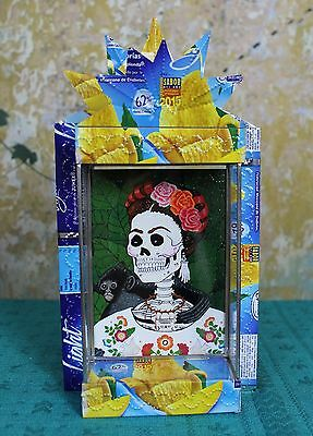 Day of the Dead Frida & Monkey Recycled Tin Reliquary Retablo Mexico Shabby Chic