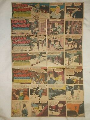 Vintage Sunday Comics Pages Strip 1940's Lot Of (5) Captain Midnight