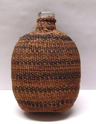 Historic Native American Woven Flask Basket Grass 1800's