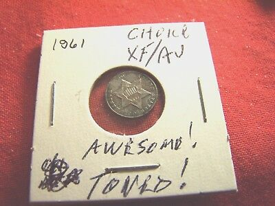 Choice XF/AU 1861 3-Cent Silver, Better Date, Awesome Toning
