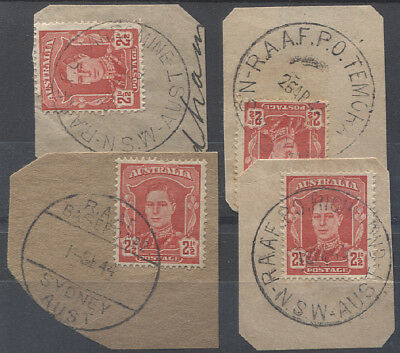 NEW SOUTH WALES  1940s: 4 diff R.A.A.F. BASE postmarks on piece TEMORA, etc.