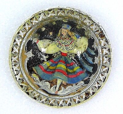 Vintage 1955 Estonian Russian Lacquer Snow Princess Maiden Brooch Signed Laido