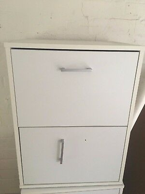 White Two Draw Filing Cabinet