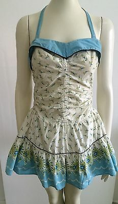 ORIGINAL 40s 50s Vintage Shirred Playsuit Swimsuit Bathers  Rockabilly Pinup