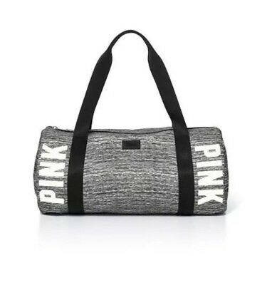 NWT Victoria's Secret PINK Duffle school gym sports travelcarry bag MARLED GRAY