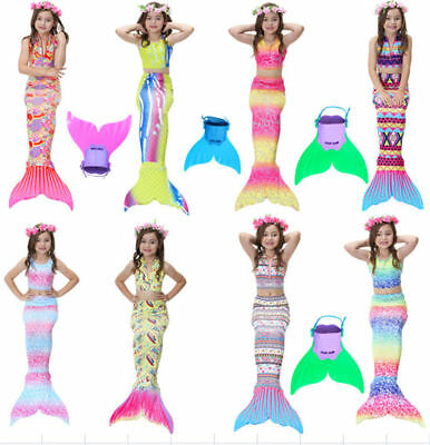 Girls Kids Swimmable Mermaid Tail With Monofin Swimming Flippers Cosplay Costume