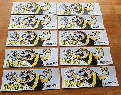 2017 Afl Richmond Tigers Premiership Premiers Bumper Sticker X10 Pieces