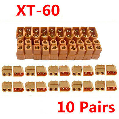 10 Pairs F / M XT60 Connector Plug Socket Bullet For Mini RC Hobby LiPo