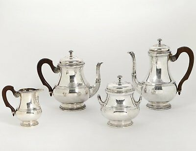 PUIFORCAT VINTAGE FRENCH .950 STERLING SILVER TEA & COFFEE SET w/ TRAY