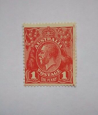Australia KGV 1d Red mint Single WMK - Compartment lines