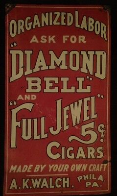 Vintage c.1930 Diamond Bell Full Jewel 5c Cigars Tobacco Gas Oil Metal Sign