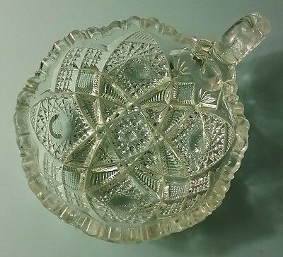 Brilliant Cut Crystal Hobnail Pattern Vintage Handled Candy Dish