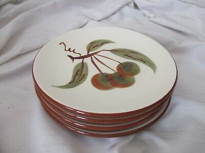 """Stangl 4 bread side plate lot Orchard Song 1962-78 brown green cherries 6"""""""