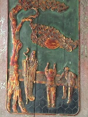 19th c Chinese Story Panel Wood Carved Cabinet Front Mica & Fine Sand Lrg 5 Pcs