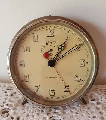 Vintage Junghans J /REPETITION/wind up Alarm Clock.Made in Germany