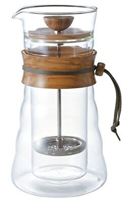 Hario Double Wall Glass Coffee Press (400ml, Olive Wood) from JAPAN F/S New!