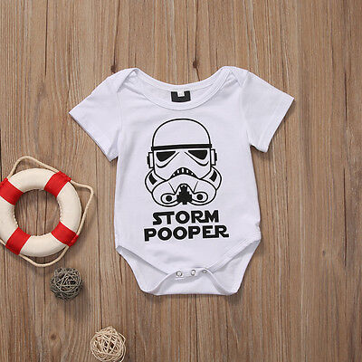 Brand New Boys / Girls Storm Pooper Star Wars Trooper Vader Baby Romper Babygrow